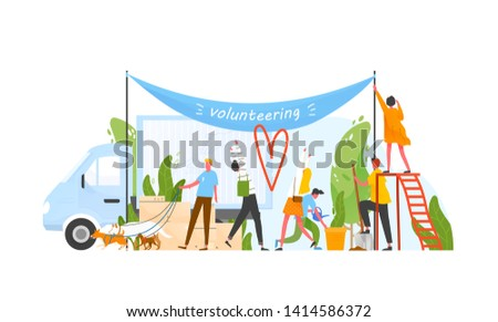 Composition with group of men and women volunteering, doing volunteer work or performing altruistic activities together - planting tree, walking dogs, hanging banner. Modern flat vector illustration. Photo stock ©
