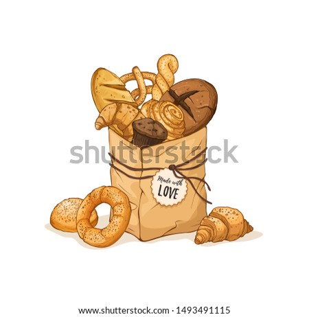 Composition with hand drawn paper bag full of fresh bread. Vector illustration isolated on white background.