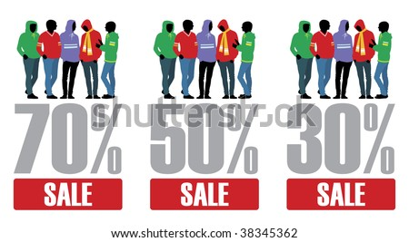 Composition with man's figures in bright clothes. In the centre percent are located. Under them inscription SALE.
