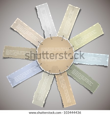 Composition with torn old paper banners.Vector eps10