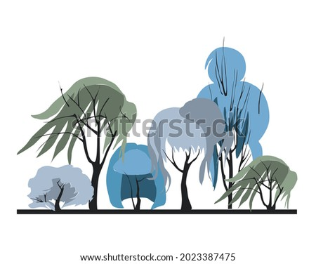 Compositional group of trees with an unusual crown in the form of a woman's hairstyle. Architectonics of woody plants. Landscape architecture in blue colors 2021