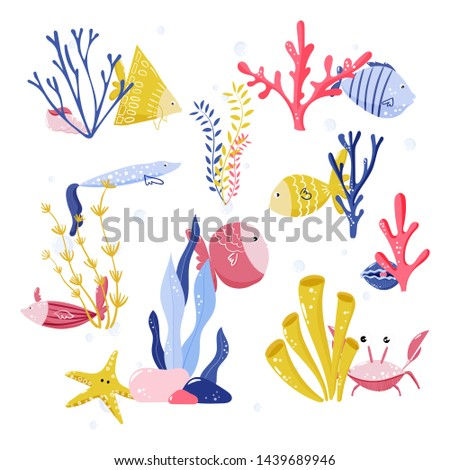 Compositions with fishes, underwater creatures, crab, shells, starfish, sea plants, seaweeds. Vector illustration of nature wildlife for kids