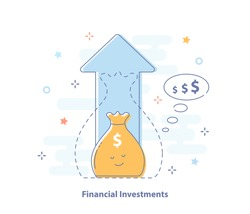 Compound interest, added value, financial investments stock market, future income growth, revenue increase, money return, pension fund plan, budget management, savings account, banking vector icon.