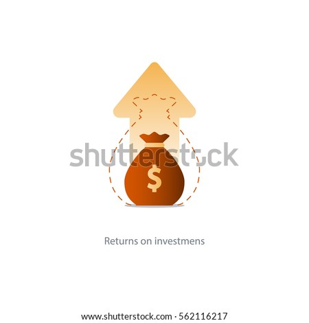 Compound interest, added value, financial investments stock market, future income growth, revenue increase, money return, pension fund plan, budget management, savings account, banking vector icon