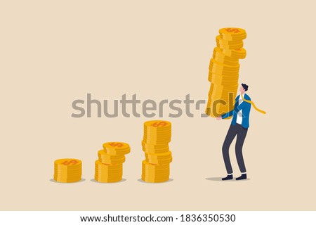 Compound interest effect, high return investment stock market or growth and prosperity economic concept, businessman investor holding high stack of dollar money coins to put as growth compound graph.