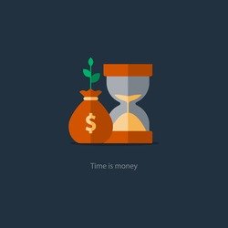 Compound interest, time is money, financial investments in stock market future income growth, revenue increase, money return, pension fund plan, budget management, savings account, banking vector icon
