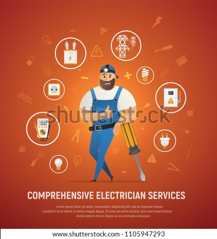 Comprehensive Electrician Service Vector Concept. Workman Cartoon Character in Overall Uniform and Cap, Surrounded Electrical Equipment Icons, Leaning on Big Screwdriver and Showing Thumbs Up Sign
