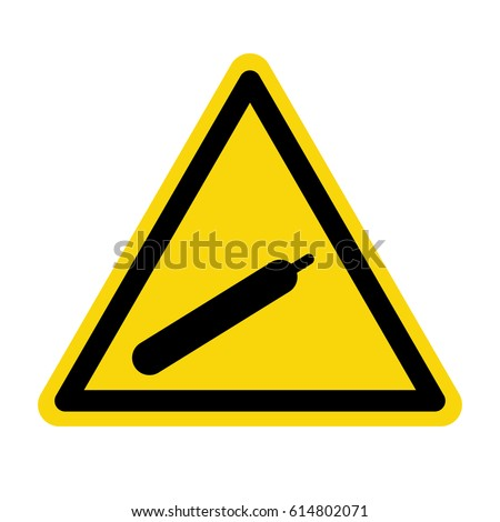 Compressed gas sign on yellow background, symbol, vector
