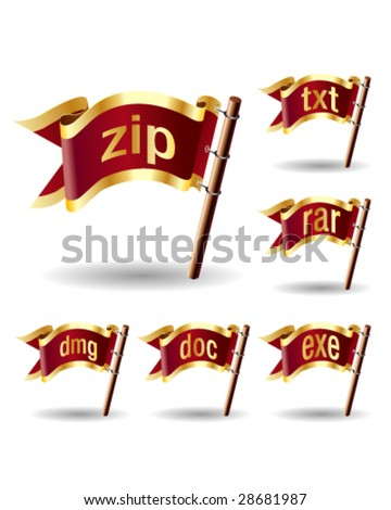 Compression or archive file extension icons on royal vector flag design elements for web or print