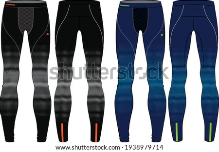 Compression Tights Pants  design vector template, Base layer Performance bottom concept with front and back view for running, jogging, fitness,  and  active wear pants design. Stock photo ©