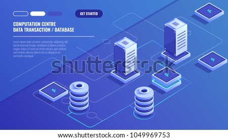 Computation of big data center, information processing, database. internet traffic routing, server room rack isometric vector technology
