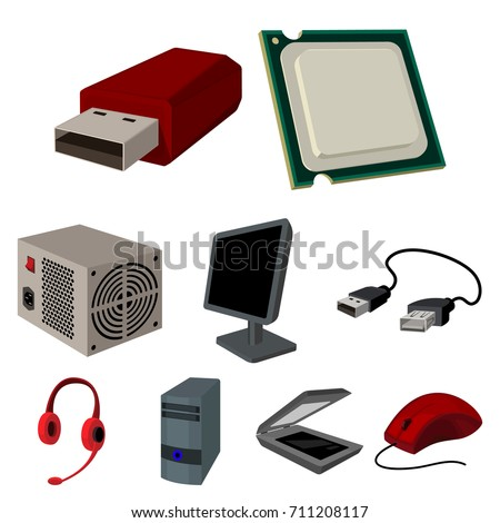 Computer accessories. Headphones, parts, accessories.Personal computer icon in set collection on cartoon style vector symbol stock illustration.