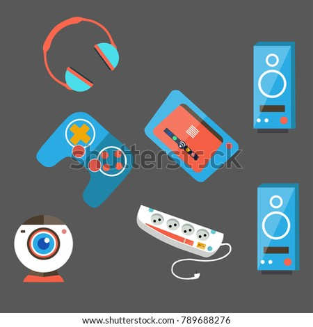 computer accessories on gray background