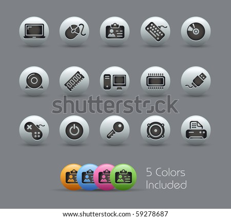 Computer & Devices // Pearly Series -------It includes 5 color versions for each icon in different layers --------- - stock vector