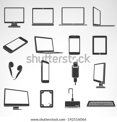 computer and accessories icon set, smart device