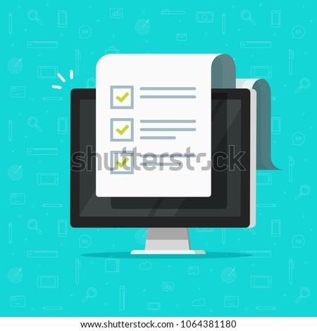 Computer and checklist vector illustration, flat cartoon pc monitor with long paper document and to do list with checkboxes, concept of survey, online quiz, completed things or done test, feedback