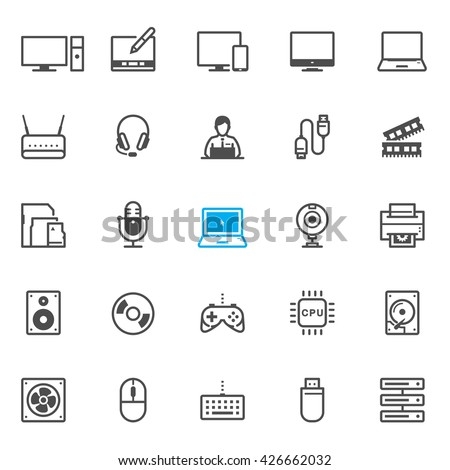 Computer and Computer Accessories icons with White Background