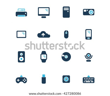 Computer and devices. Flat icon set of technology devices. Computer and devices icon set. Computer and devices flat icon. Flat icon set