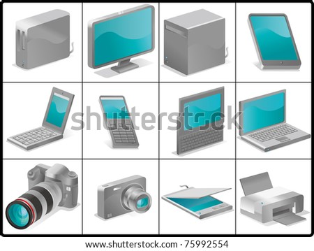 computer and devices for structure like 3D - stock vector