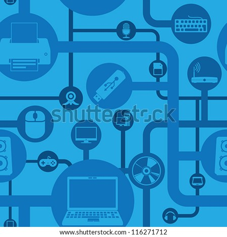 Computer and peripherals seamless pattern - stock vector