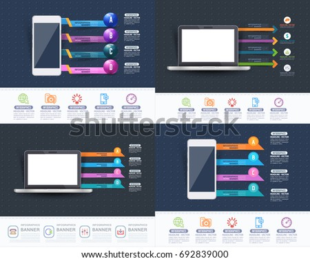 Computer and Phone Concept Infographics Shapes Illustration, Multicolored Glossy Arrows Template with Business Strategy Flat Web Icons. Website Banner Design and Stats Presentation Elements Set