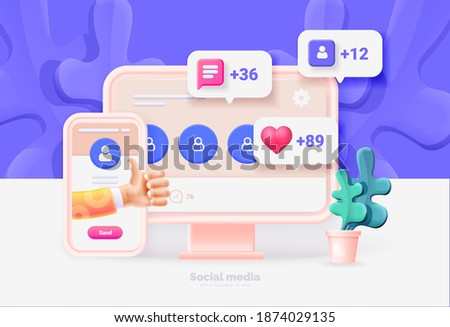Computer and smartphone with social media user interface. Template for computer and smartphone. Social network user interface with new likes, comments, followers. Vector illustration 3d style.