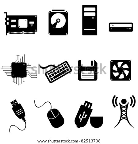 computer and technology icon set