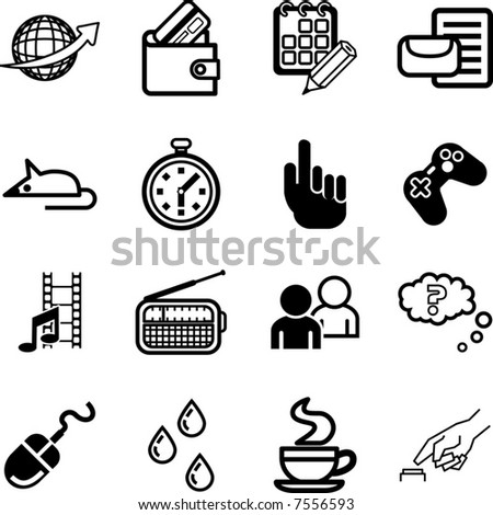 Computer application and media Icon set.  A Computer application and media Icon set