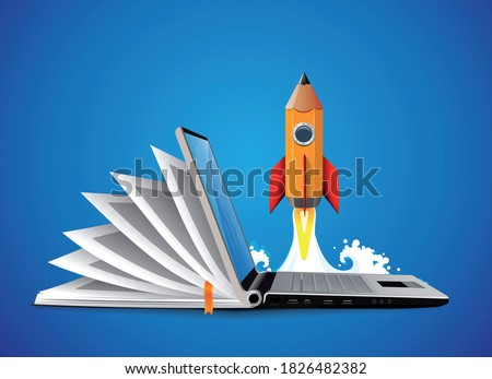 Computer as book knowledge base concept - laptop as elearning idea Photo stock ©