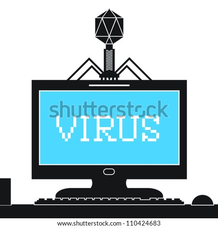 Computer bacteriophage infecting computer monitor with a virus.
