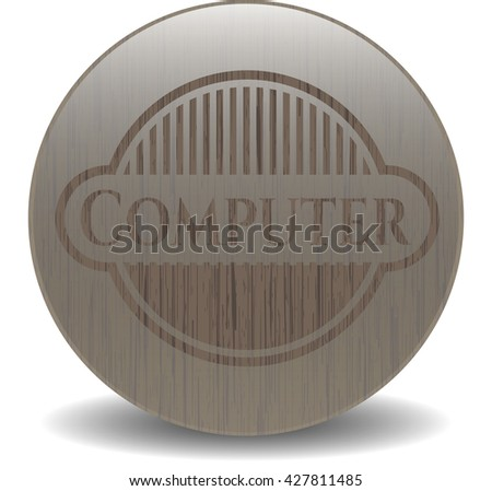 Computer badge with wooden background