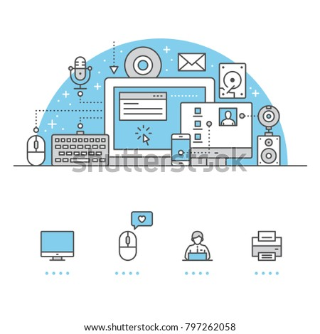Computer banner and icons with White Background
