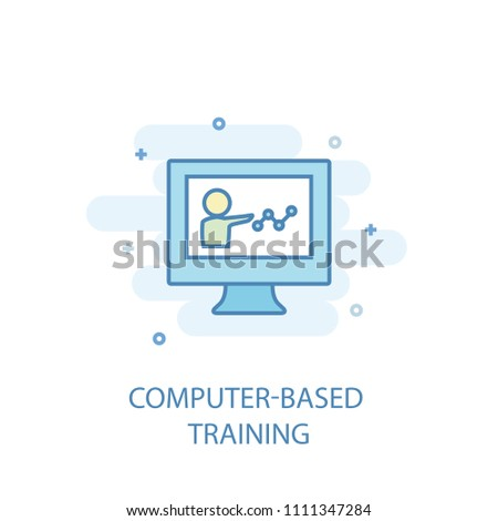 Computer-Based Training concept trendy icon. Simple line, colored illustration. Computer-Based Training concept symbol flat design from eLearning  set. Can be used for UI/UX