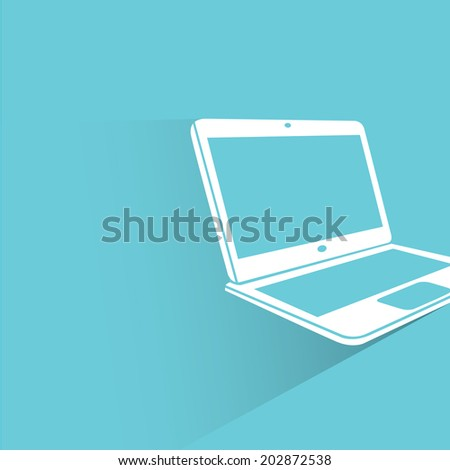 computer, blue shadow and flat theme