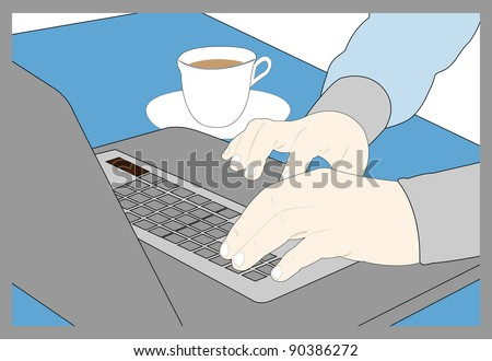 Computer board on which fingers and nearby a tea mug lie