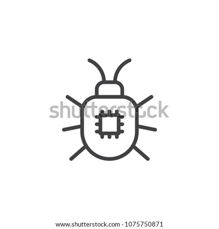 Computer bug outline icon. linear style sign for mobile concept and web design. Computer virus simple line vector icon. Symbol, logo illustration. Pixel perfect vector graphics