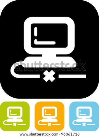Computer cable disconnected - Vector icon isolated
