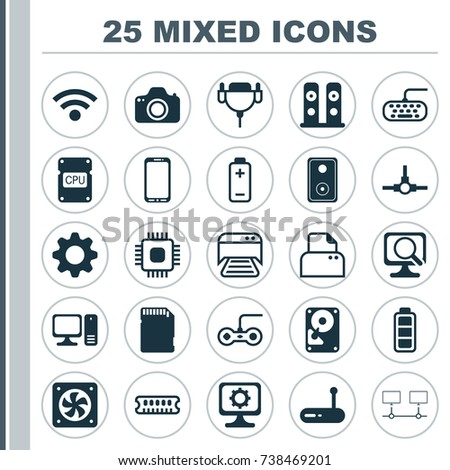 computer chip icons set