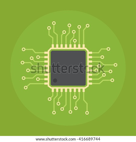 computer chip vector flat icon