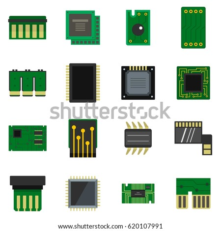 computer chips icons set in