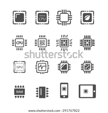 Computer Chips icons,Vector