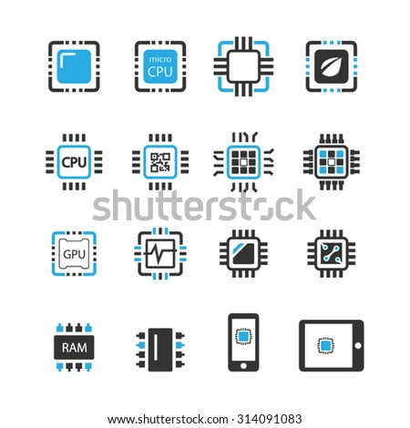 computer chips icons vector
