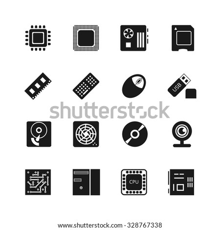 Computer chips vector icons set. Cooler and cpu, webcam and mouse, flash drive and motherboard illustration