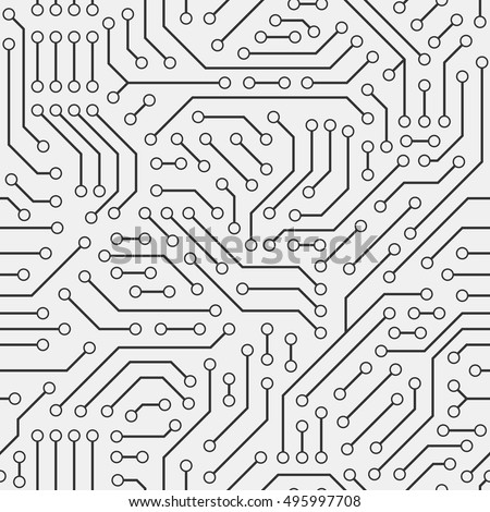 Computer circuit board. Seamless pattern.