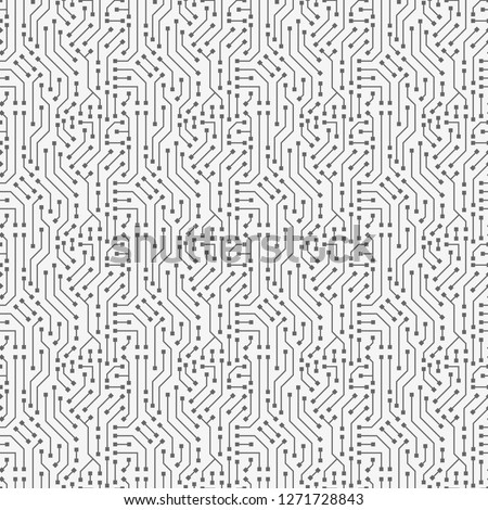 Computer circuit board texture. Seamless technology pattern. Abstract illustration of silicon chip. Digital tech background in black and white colors.