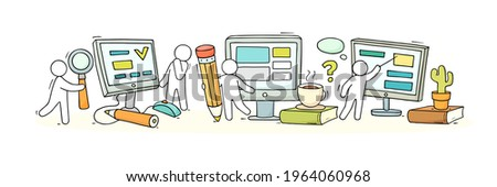 Computer class with studing little people. Doodle cute miniature of teamwork and learning symbols. Hand drawn cartoon vector illustration for school subject design. Foto stock ©