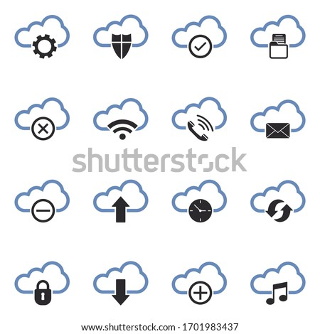 computer cloud icons two tone