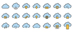 Computer Cloud Related Line Icons. Vector Icon Set. - Vector