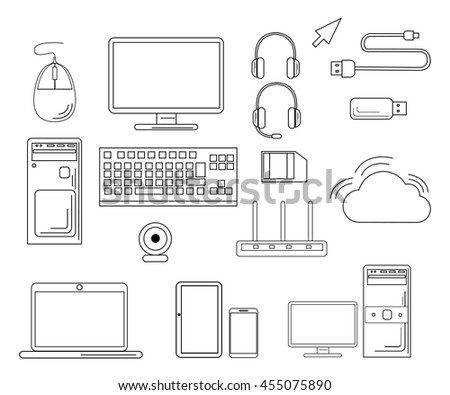 Computer collection. Technology and computers icon set suitable for info graphics. Simplus series icon set. Network and mobile devices. Mouse for the computer the keyboard the USB stick a router.
