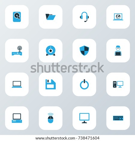 Computer Colorful Icons Set. Collection Of Notebook, Display, Camera And Other Elements. Also Includes Symbols Such As Start, Security, Earphones.